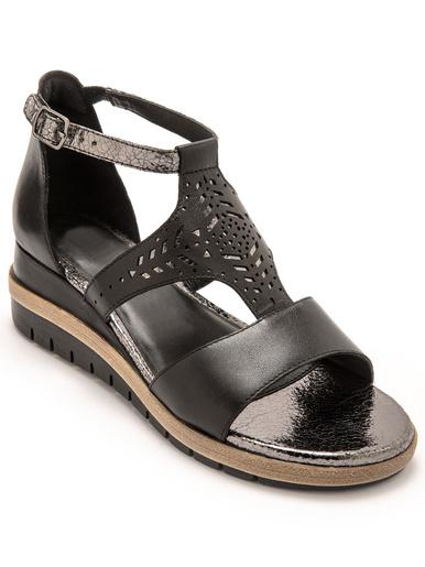 Sandales cuir motifs ajourés - Pédiconfort - Noir