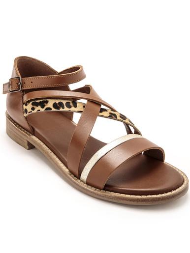 Sandales fantaisie à aérosemelle - Pédiconfort - Marron