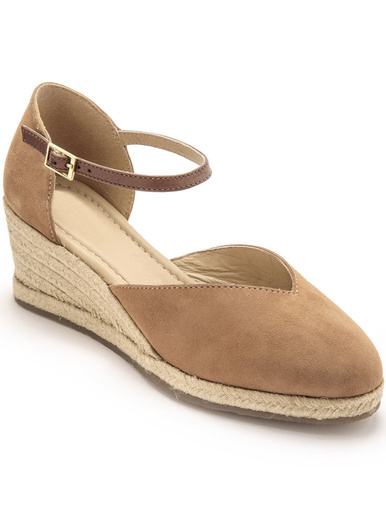 Sandales hautes cuir semelle corde - Pédiconfort - Marron