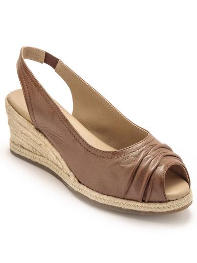 Sandales hautes cuir bout ouvert - Pédiconfort - Marron