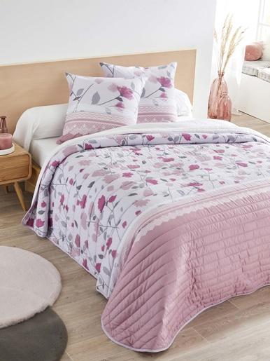 Couvre-lit matelassé - Carré d'azur - Imp rose