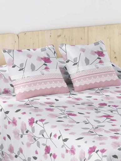 Taie d'oreiller matelassée - Carré d'azur - Imp rose