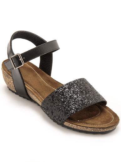 Sandales cuir à aérosemelle® - Pédiconfort - Noir