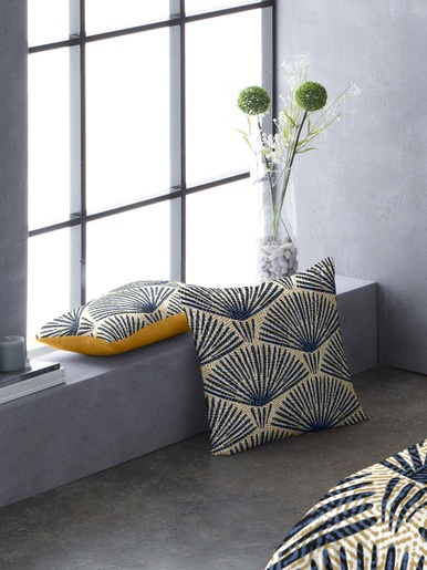 Taie d'oreiller fantaisie - Carré d'azur - Imp.bleu et jaune