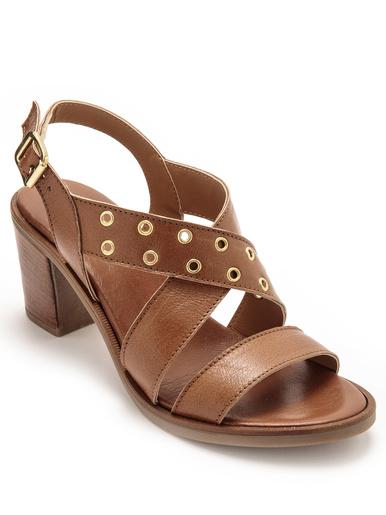 Sandales à aérosemelle talon large - Pédiconfort - Marron