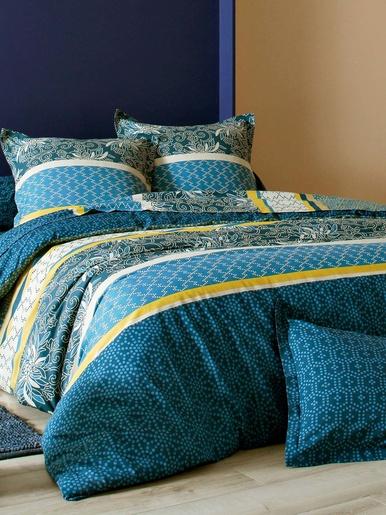 Housse de couette RAYURES ET MICRO-MOTIF - Becquet - Rayures bleues et jaunes