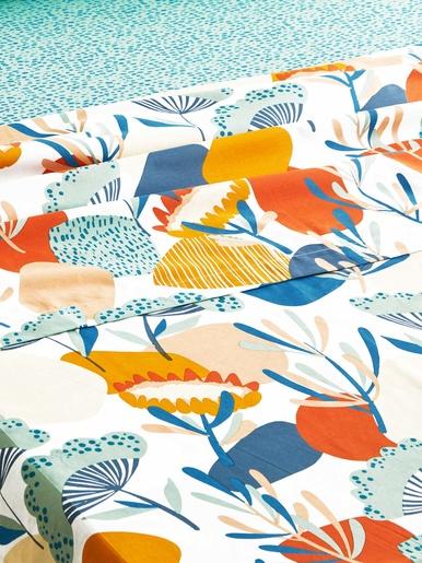 Drap FLEURS COLOREES - Becquet - Fleurs colorées