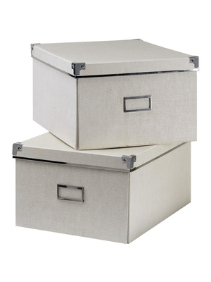Lot de 2 boites carton effet tissu