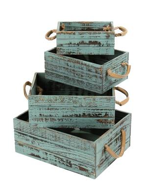4 Caisses bois poignées corde