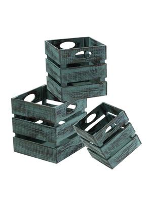 3 caisses carrées en bois