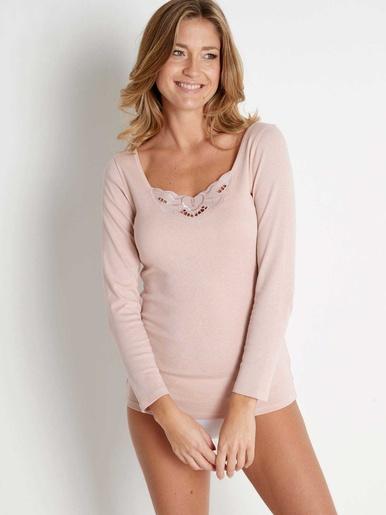 Chemises manches longues coton bio 2 + 1 - Lingerelle - Vison + rose + blanc