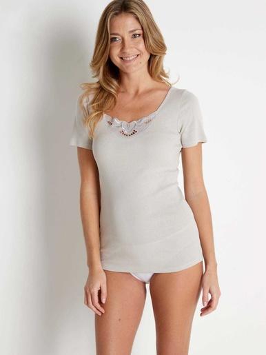 Chemises manches courtes coton bio 2 + 1 - Lingerelle - Vison + rose + blanc