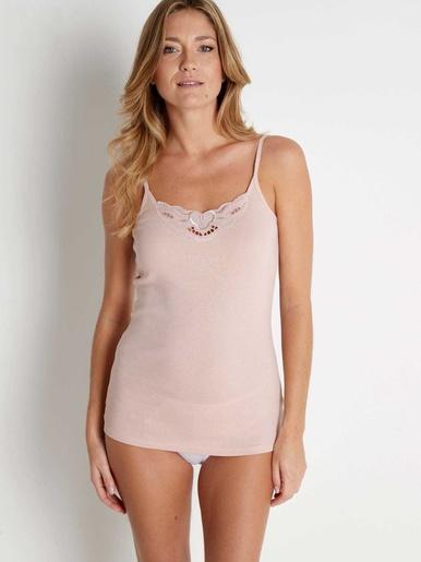 Chemises fines bretelles coton bio 2 + 1 - Lingerelle - Vison + rose + blanc
