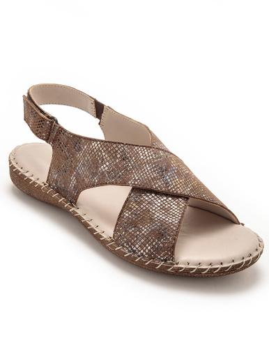 Sandales à lanières croisées à scratch - Pédiconfort - Imprimé marron