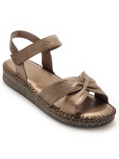 Sandales à scratch effet plissé - Pédiconfort - Mordoré