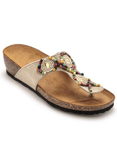 Mules avec entredoigt motifs perles - Pédiconfort - Beige/multicolore