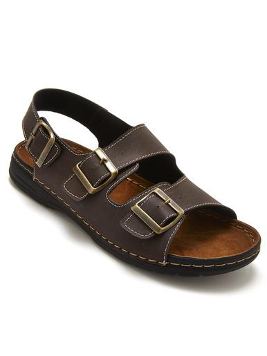 Sandales cuir ouverture totale - Pédiconfort - Marron