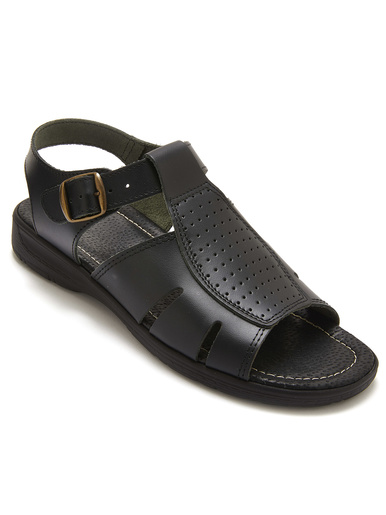 Sandales cuir à aérosemelle - Pédiconfort - Noir