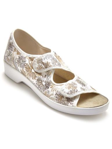 Sandales extra larges ouverture totale - Pédiconfort - Blanc/doré