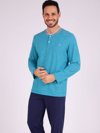 Pyjama long col T Attrape-moi - Eminence - Rayures turquoise - marine
