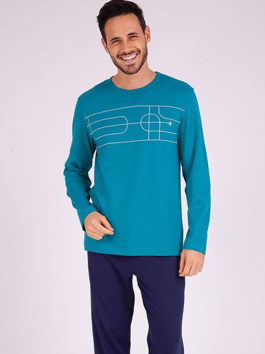 Pyjama long col rond Attrape-moi - Eminence - Turquoise - marine