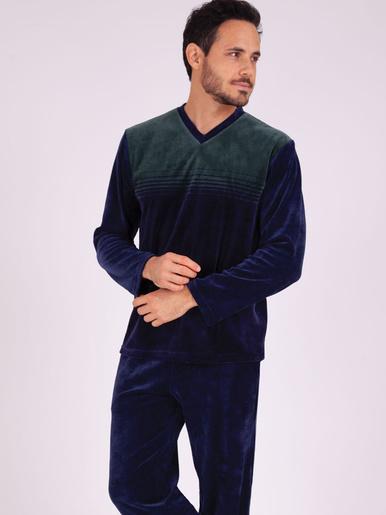 Pyjama long col V Héritage - Eminence - Rayure marine/vert-marine