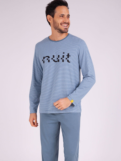 Pyjama long col rond Enigma - Eminence - Rayures-bleu gris
