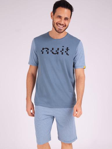 Pyjama court col rond Enigma - Eminence - Rayures-bleu gris