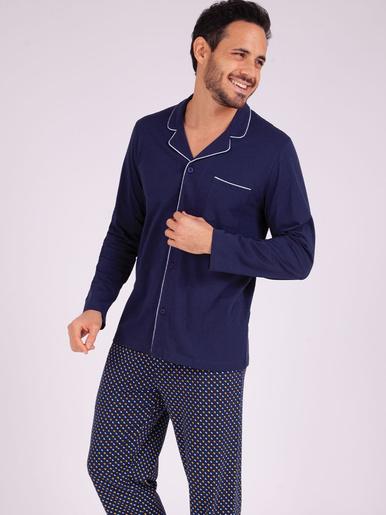 Pyjama long ouvert Héritage - Eminence - Marine-croissant marine