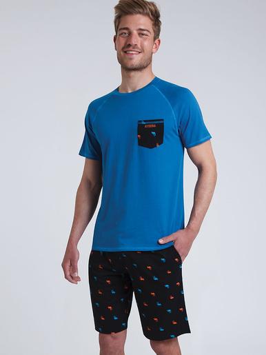 Pyjama court col rond imprimé