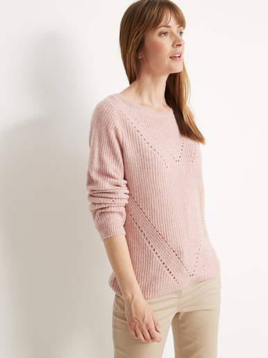 Pull en côtes perlées - Kocoon - Chiné rose