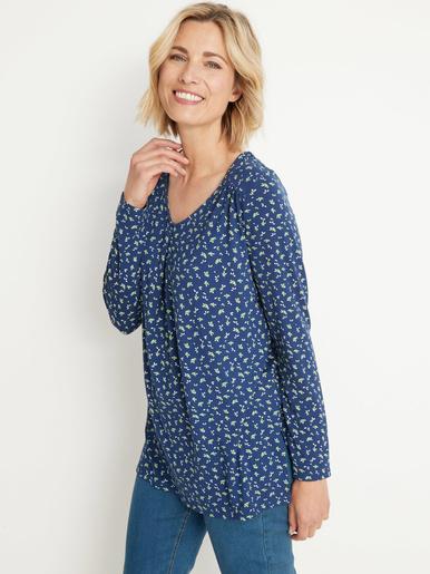 Tee-shirt tunique manches longues - Kocoon - Imprimé fond marine