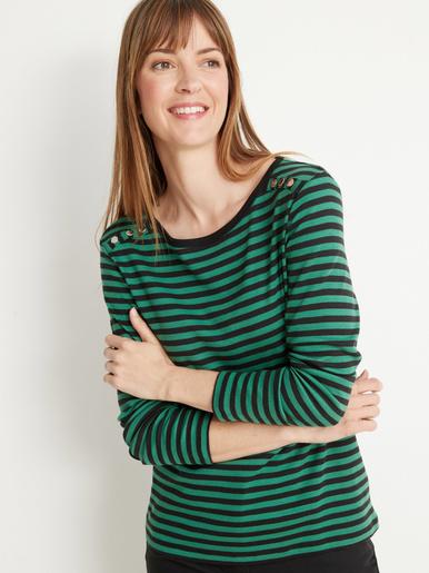 Tee-shirt marinière à rivets - Kocoon - Noir rayé vert