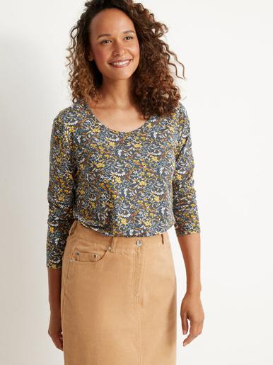 Tee-shirt manches longues maille fluide - Kocoon - Imprimé fond bleu