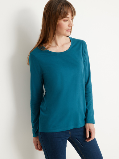 Lot de 2 tee-shirts manches longues - Kocoon - Imp bleu blanc+uni bleu canard