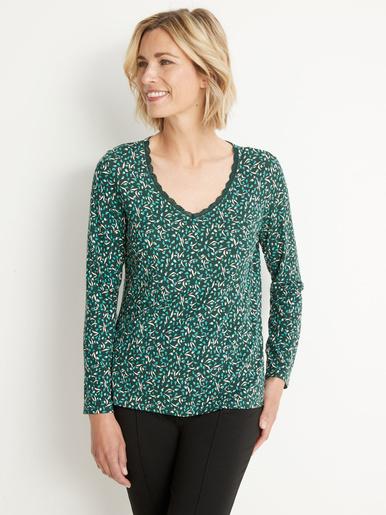 Tee-shirt avec dentelle à l'encolure - Balsamik - Imprimé fond vert