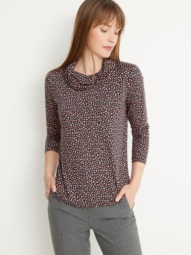 Tee-shirt fluide col bénitier - Charmance - Imprimé fond noir