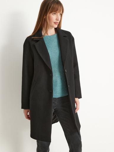 Manteau droit 34% laine longueur 3/4 - Balsamik - Noir