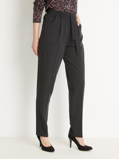 Pantalon taille haute élastiqué dos - Balsamik - Noir