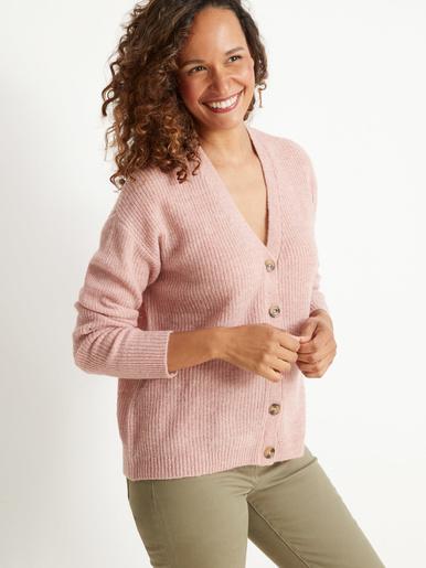 Gilet côtes perlées avec laine et alpaga - Kocoon - Chiné rose