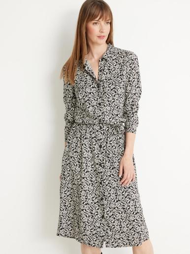 Robe-chemise longue en maille
