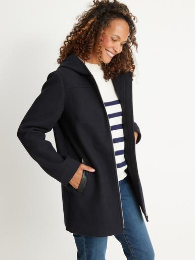 Duffle-coat zippé 33% laine - Kocoon - Marine