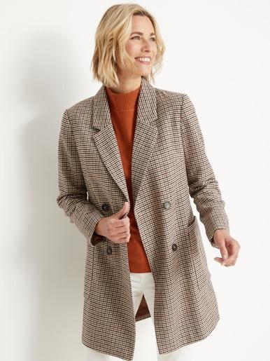 Manteau droit croisé 20% laine - Balsamik - Ecossais marron
