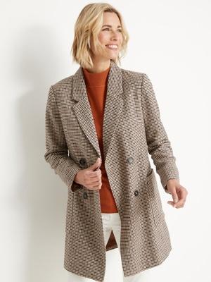 Manteau droit croisé 20% laine