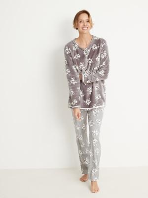 Pyjama maille peluche et côtelée