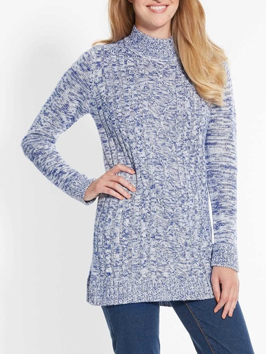 Pull col montant manches longues - Balsamik - Bleu chine