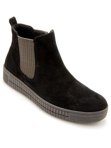 Boots cuir velours zippées - Pédiconfort - Noir