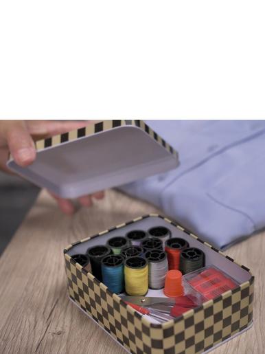 Kit de couture boîte métal -  - Blanc et noir