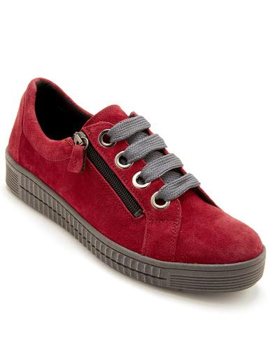Derbies cuir velours avec zip et lacets - Pédiconfort - Rouge
