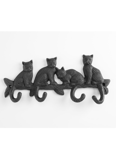 Patère 4 crochets en fonte motifs chats -  - Noir